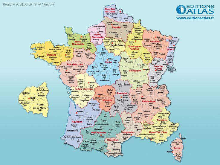 143 Best Carte De France Images On Pinterest | Frances O concernant Carte De France Avec Departement A Imprimer