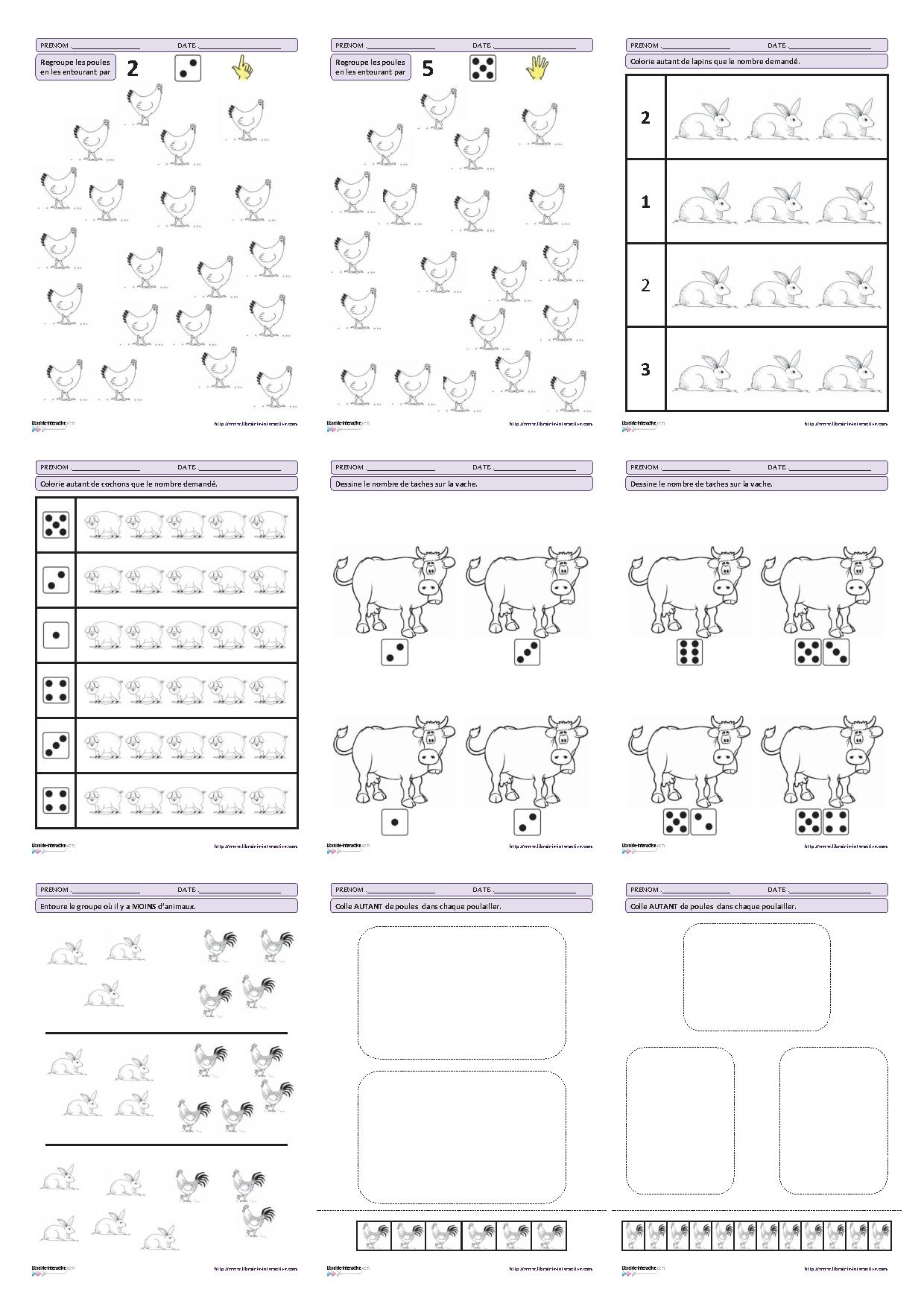 27 Fiches D'Exercices Mathématiques Pour La Maternelle (Ps encequiconcerne Fiche De Travail Gs
