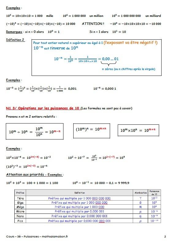 3E Puissance : Cours - Maths À La Maison à Exercice De Math Sur Les Puissances