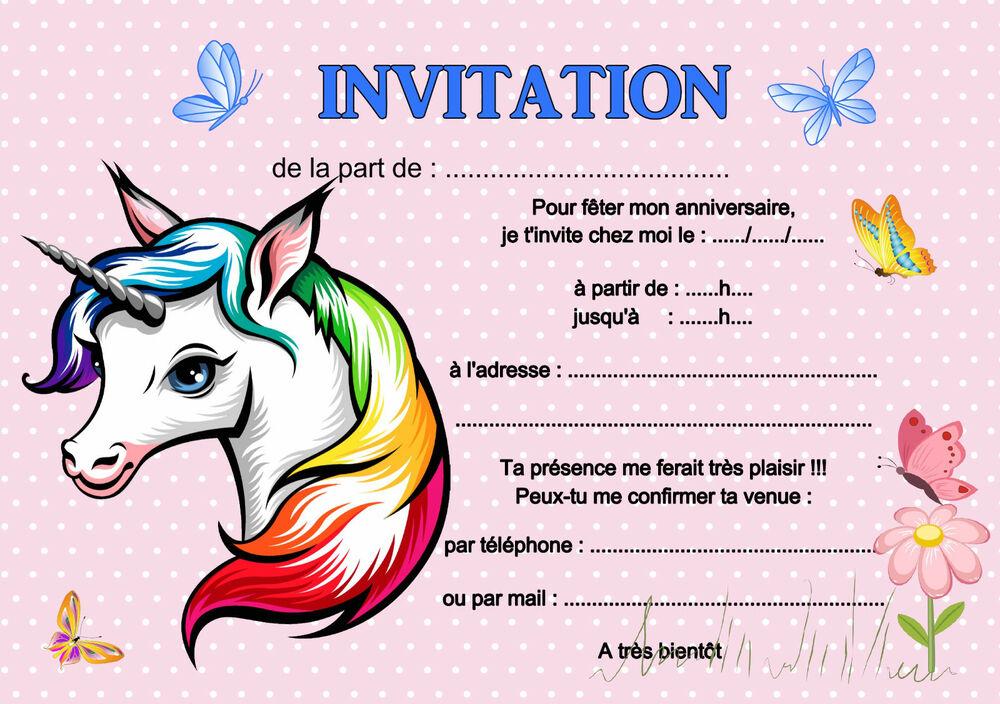 5 - 12 Ou 14 Cartes Invitation Anniversaire Licorne Réf pour Invitation Anniversaire Fille 5 Ans