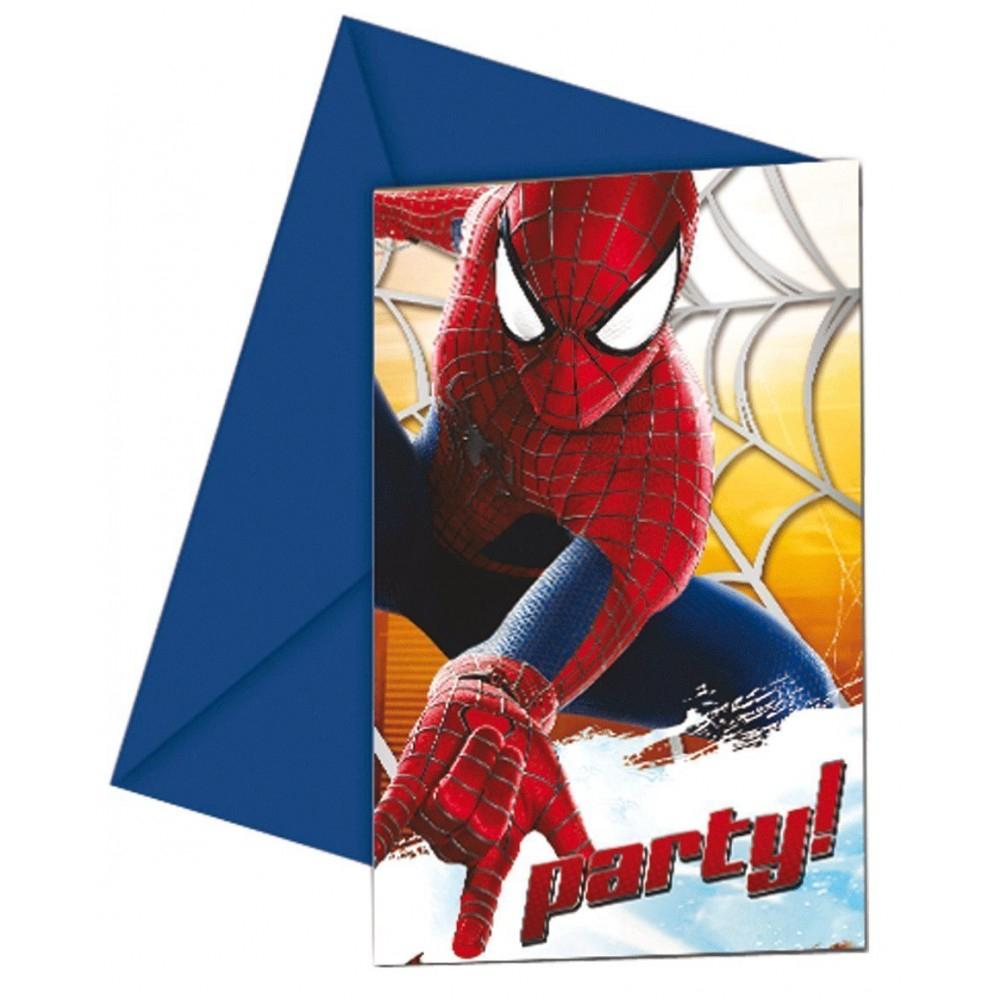6 Cartes D'Invitation - Spiderman - Invitations Toutes avec Invitation Anniversaire Cultura