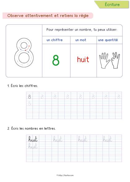 8-Ecrire-Les-Nombres-En-Lettres-Huit | Numbers Preschool intérieur Nombres En Lettres Ce1