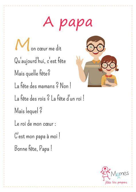 À Papa | Poème Fête Des Pères, Fête Des Pères, Poème Pour Papa tout Poeme Pour Maman Et Papa