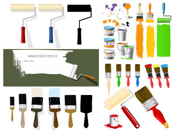 Ainsi, La Peinture Peinture Pinceaux Vector Mat¨¦Riel T¨¦L à Materiel Eps