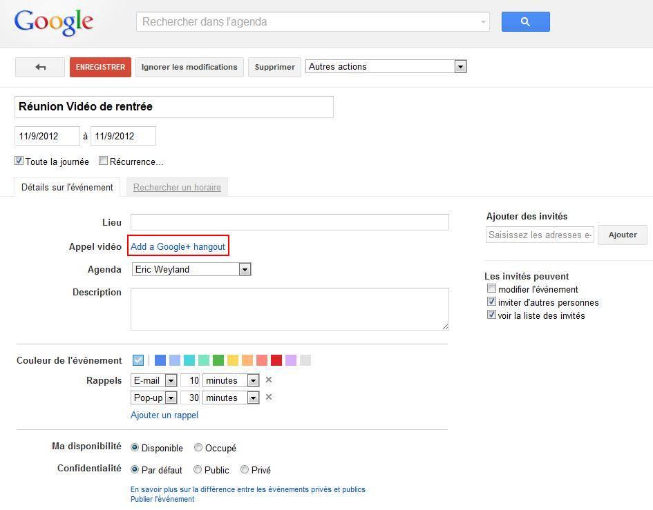 Ajouter Un Appel Vidéo Dans Un Évènement Sur Google Agenda serapportantà Envoyer Invitation Hangout