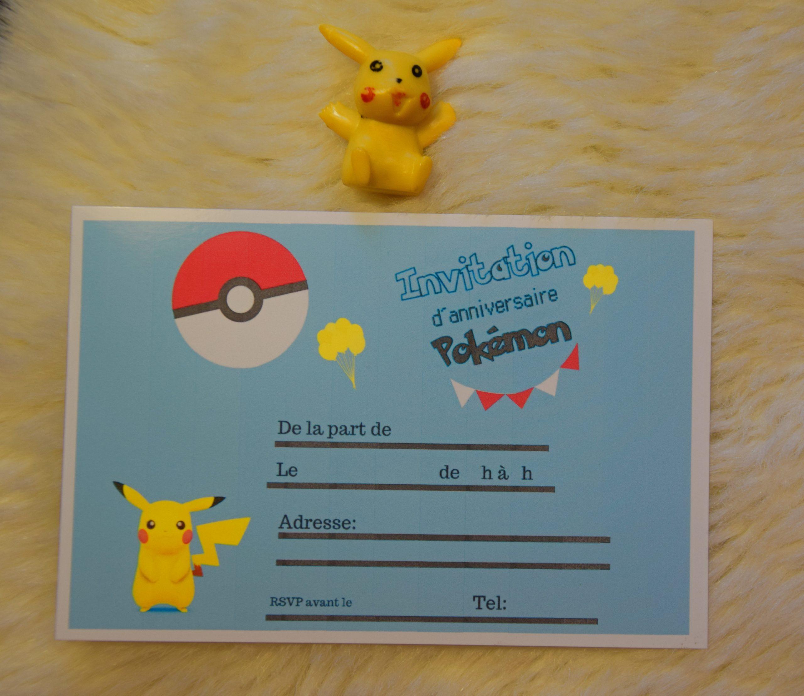Anniversaire.cartes D'Invitation Pokemon À Imprimer destiné Creer Son Invitation Anniversaire Gratuitement