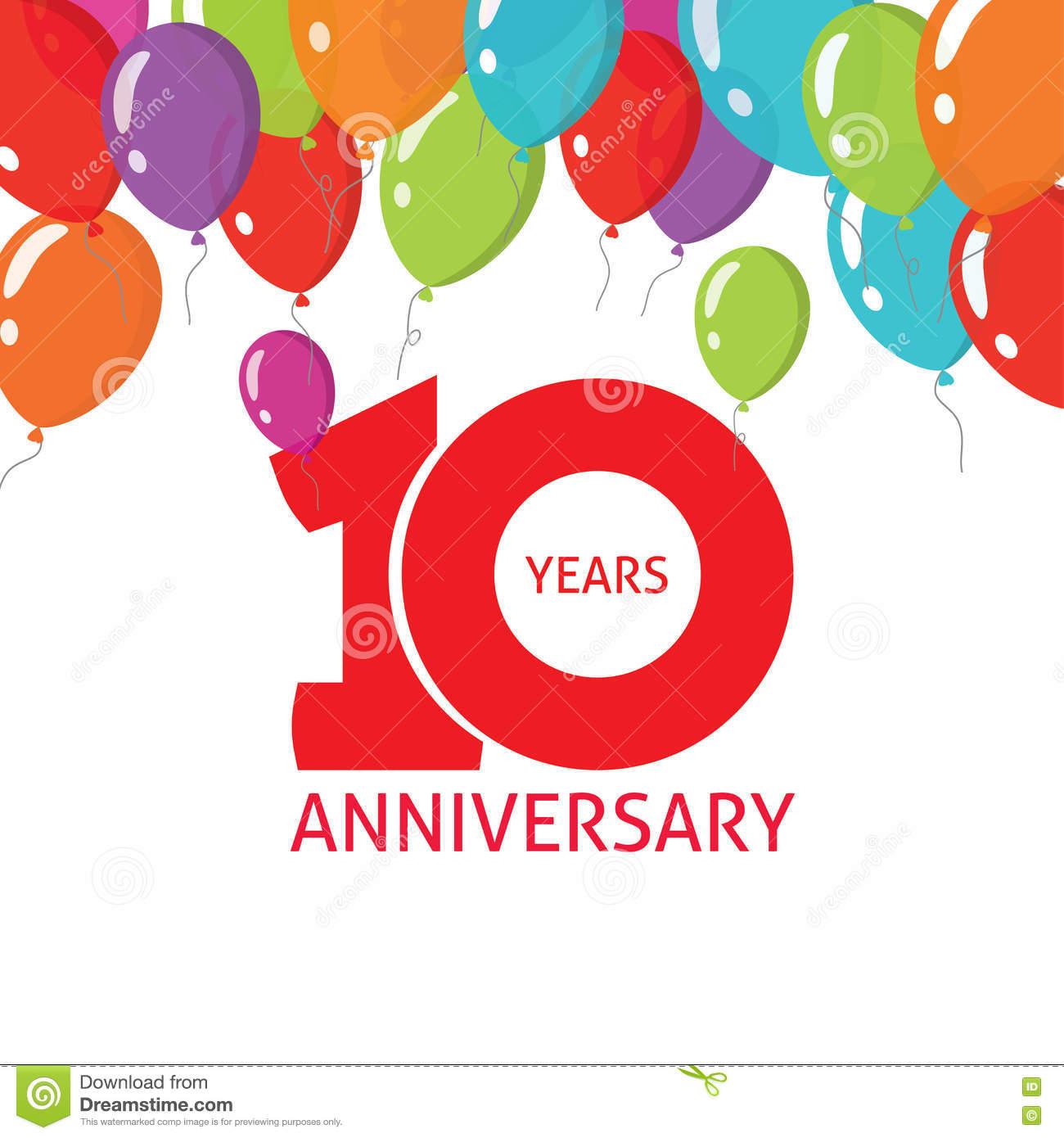 Anniversary 10Th Balloons Poster, 10 Years Banner Design destiné Invitation Anniversaire Garçon 10 Ans