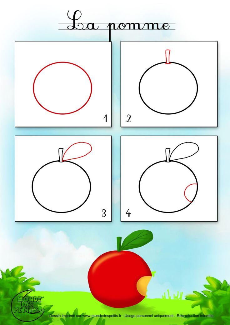 Apprendre-Dessiner-Fruit-Pomme (1400×1980) | Teaching serapportantà Fruit A Dessiner