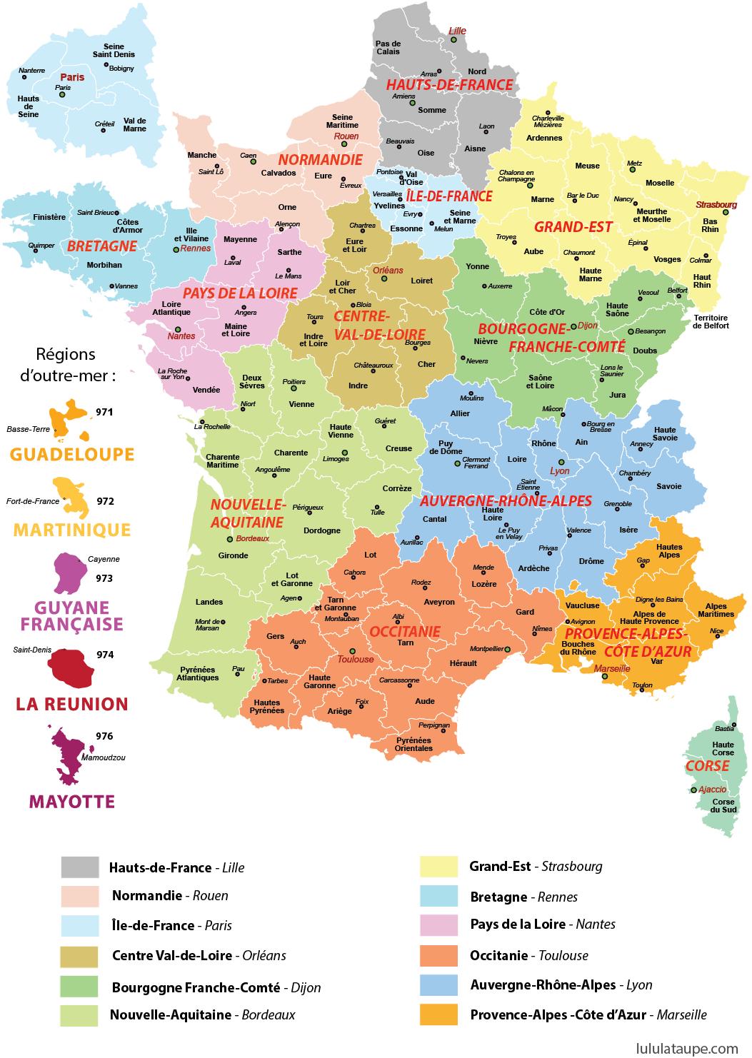 """""""Arc En Ciel"""", La Ronde Autour Du Monde: Carte Des Régions encequiconcerne Listes Des Départements De France"""