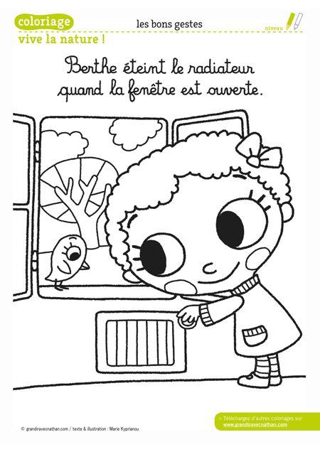 Berthe Éteint Le Radiateur Quand La Fenêtre Est Ouverte dedans Coloriage Environnement