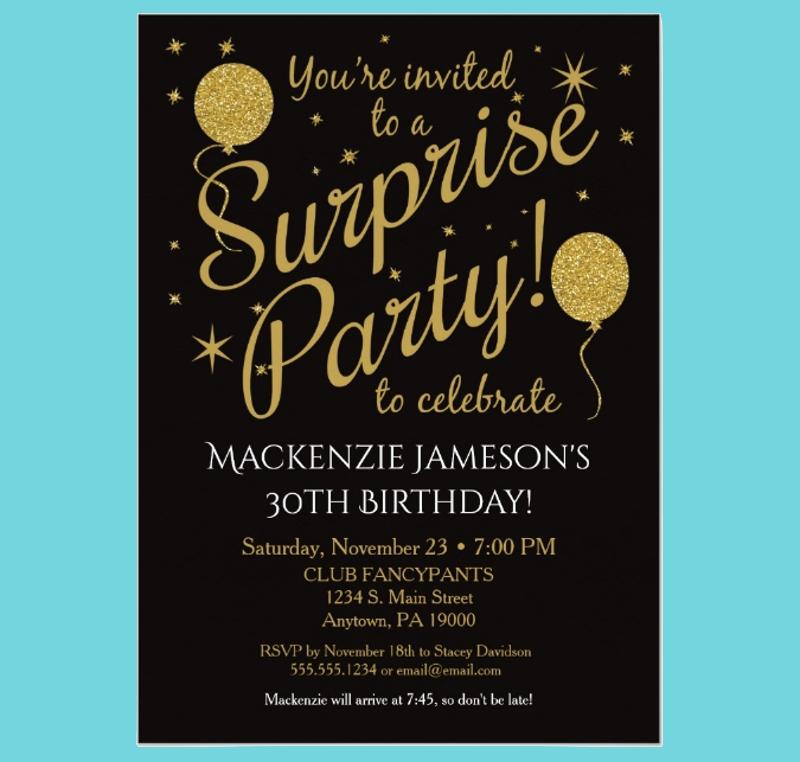 Birthday Surprise Party Invitation encequiconcerne Invitation Fête Surprise