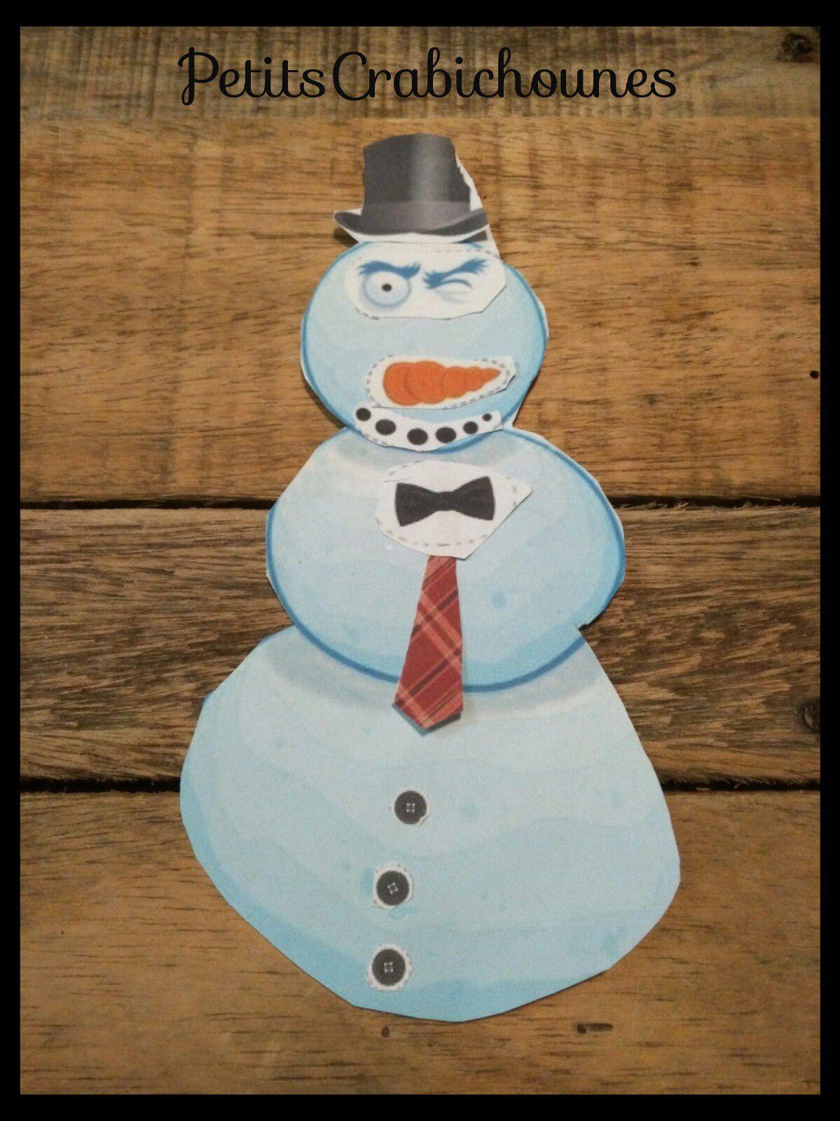 Bonhomme De Neige À Découper Et Peinture Coton-Tige dedans Modèle Bonhomme De Neige À Découper