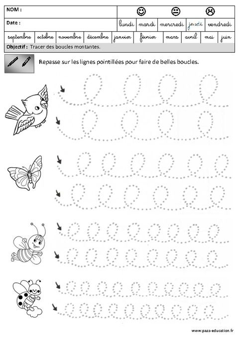 Boucles - Montantes - Graphisme - Maternelle - Grande concernant Fiche De Travail Gs