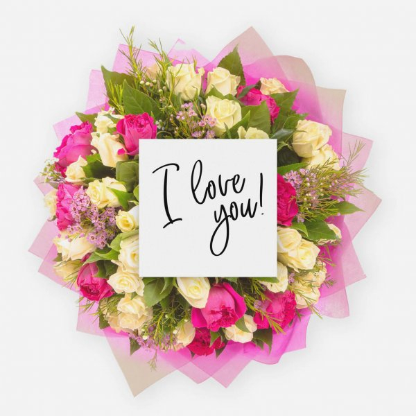 Bouquet De Fleurs Fraîches Et Carte Avec Des Mots Merci avec Je T Aime Avec Des Fleurs