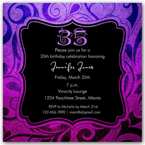 Brilliant Emblem 35Th Birthday Party Invitations   Paperstyle avec Invitation 35 Ans