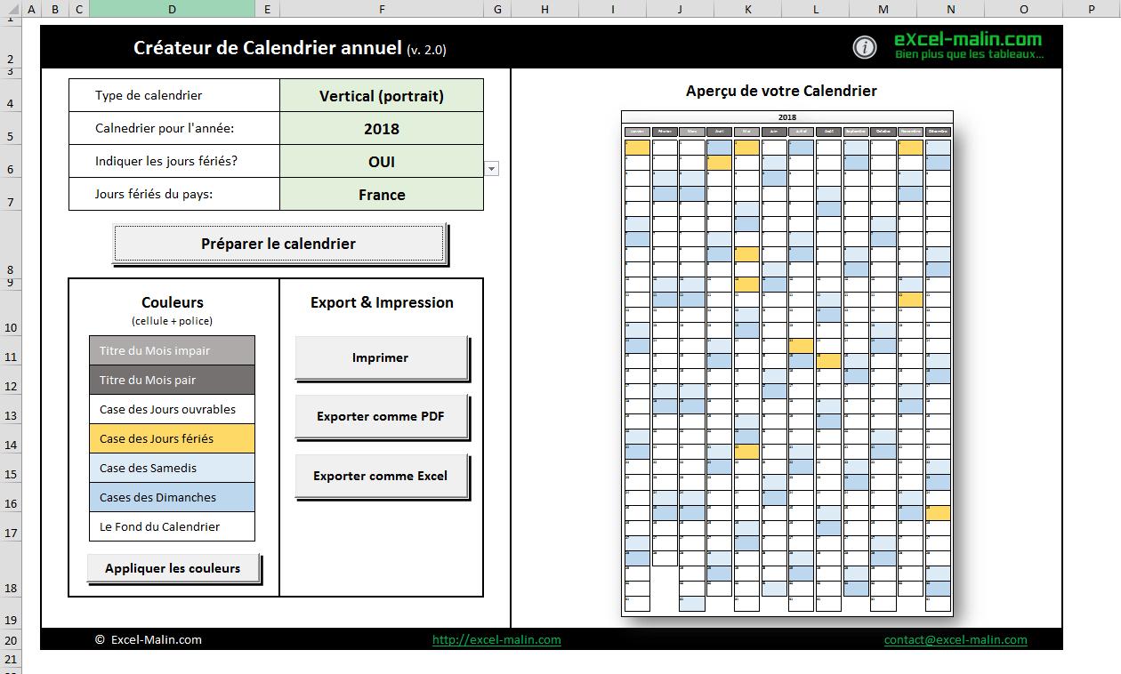 Calendrier 2018 Excel Modifiable Et Gratuit | Excel-Malin destiné Planning Annuel 2018