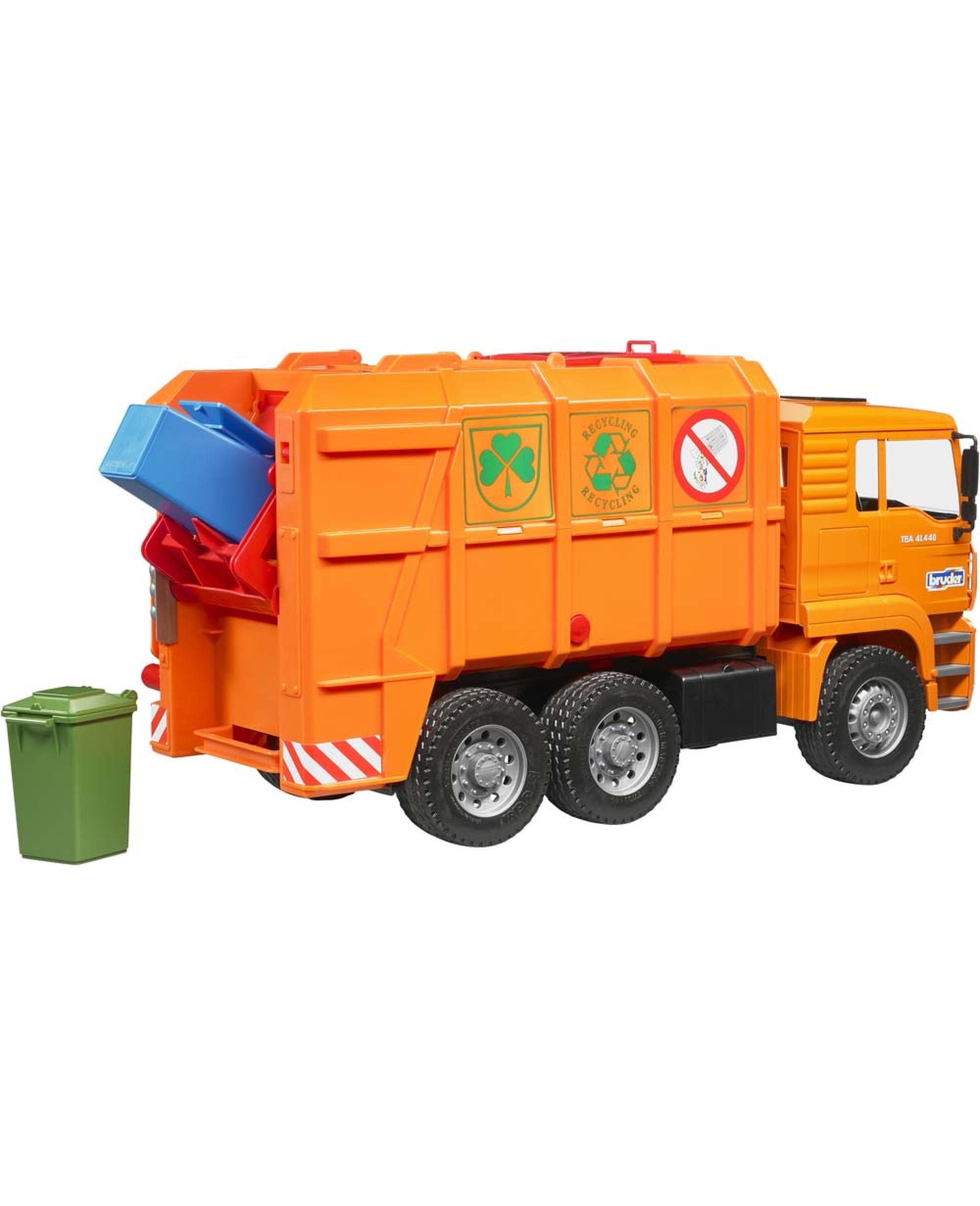 Camion 6X4 Poubelle Man Tga Orange Avec Conteneurs Jouet concernant Le Doudou Des Camions Poubelles