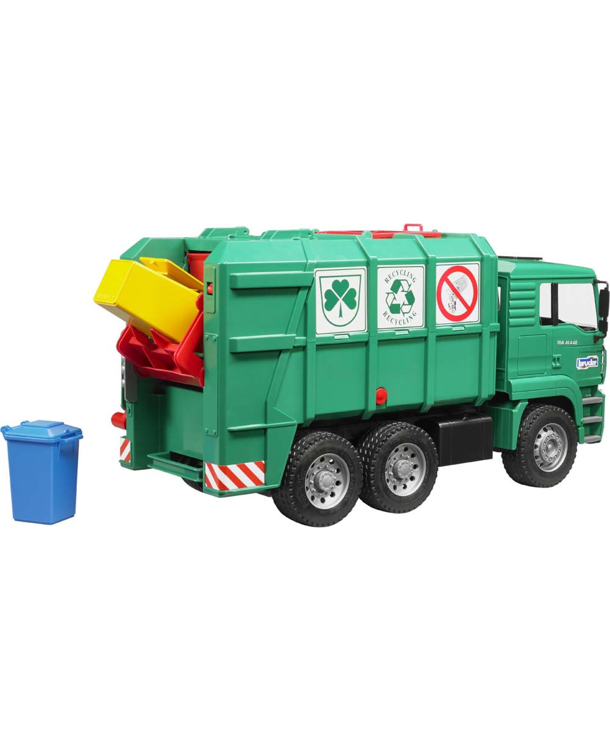 Camion Poubelle Vert 6X4 Man Tga Avec Conteneurs Jouet dedans Le Doudou Des Camions Poubelles