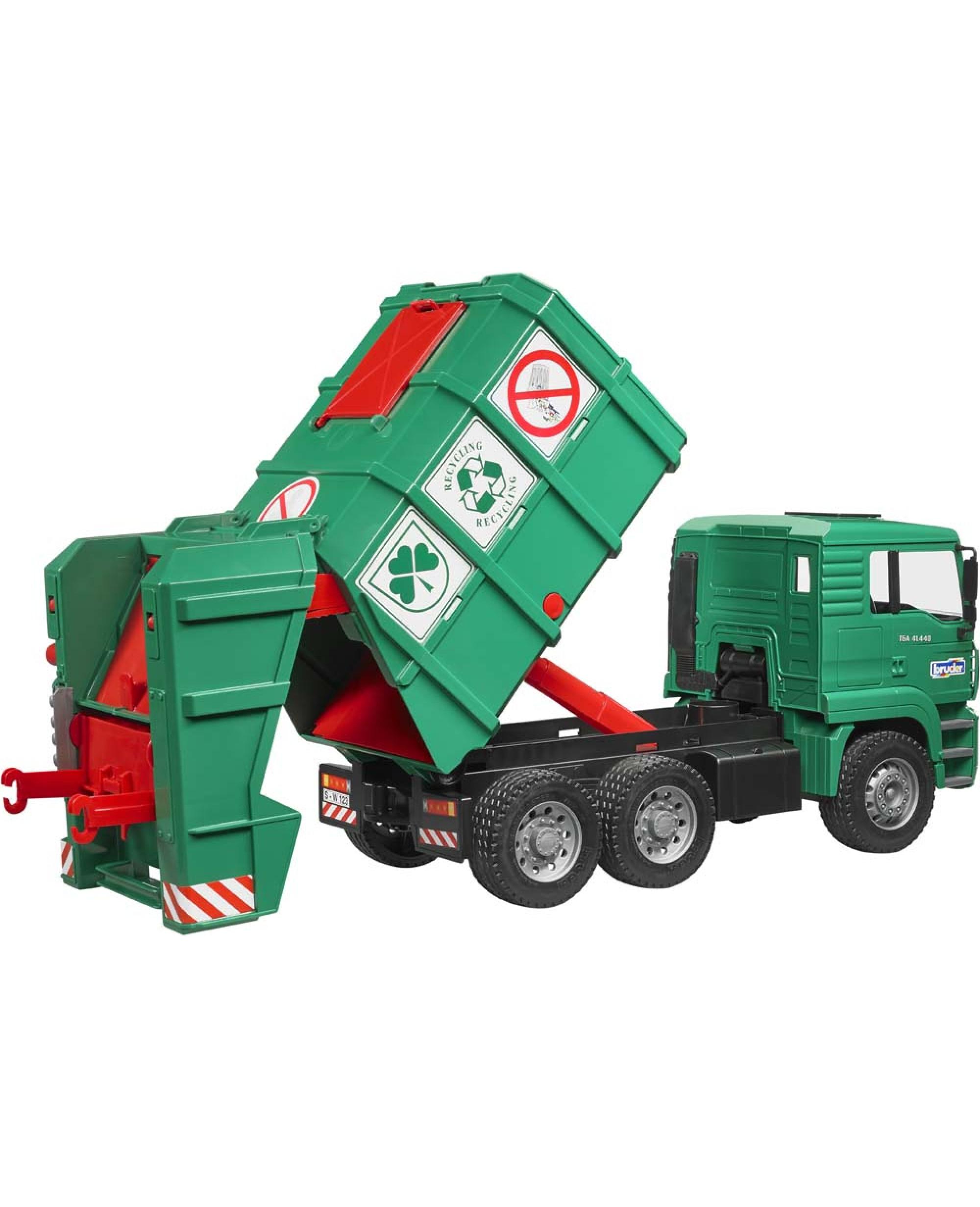 Camion Poubelle Vert 6X4 Man Tga Avec Conteneurs Jouet pour Le Doudou Des Camions Poubelles