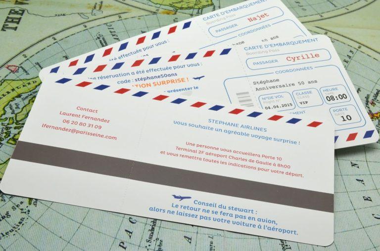 Carte Anniversaire 50 Ans Billet D Avion L'Atelier D'Elsa serapportantà Invitation Anniversaire Billet Avion