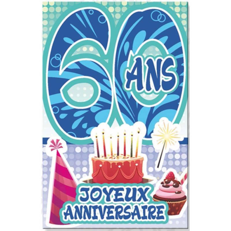 Carte Anniversaire Âge 60 Ans Écriture Bleue Effet Vague avec Texte Humoristique Pour Invitation Anniversaire 60 Ans