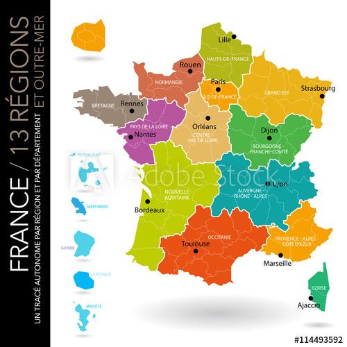 Carte De France 13 Régions (Nouveaux Noms (2016 avec Les 13 Régions