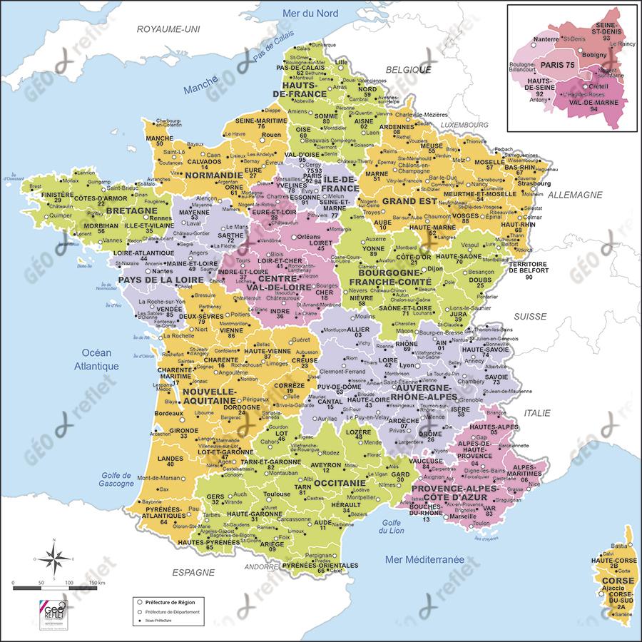 Carte De France Administrative | France Carte à Carte De France Avec Departement A Imprimer