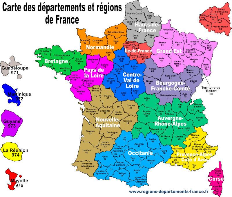 Carte De France Avec Régions Et Départements serapportantà Listes Des Départements De France