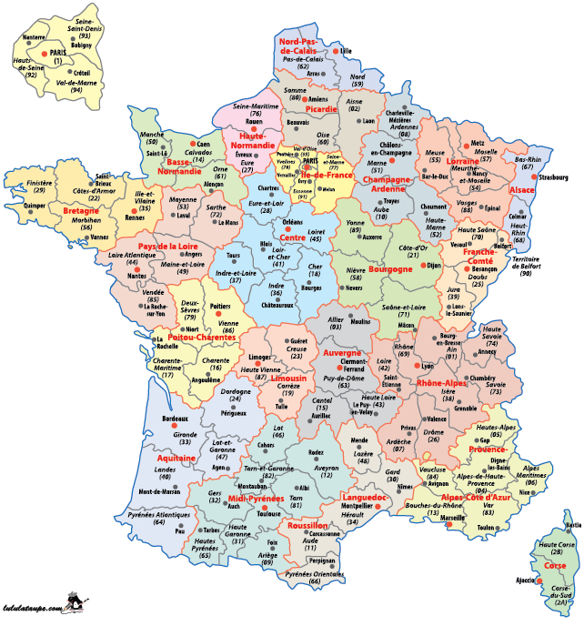 Carte De France Départements Régions • Voyages - Cartes serapportantà Listes Des Départements De France