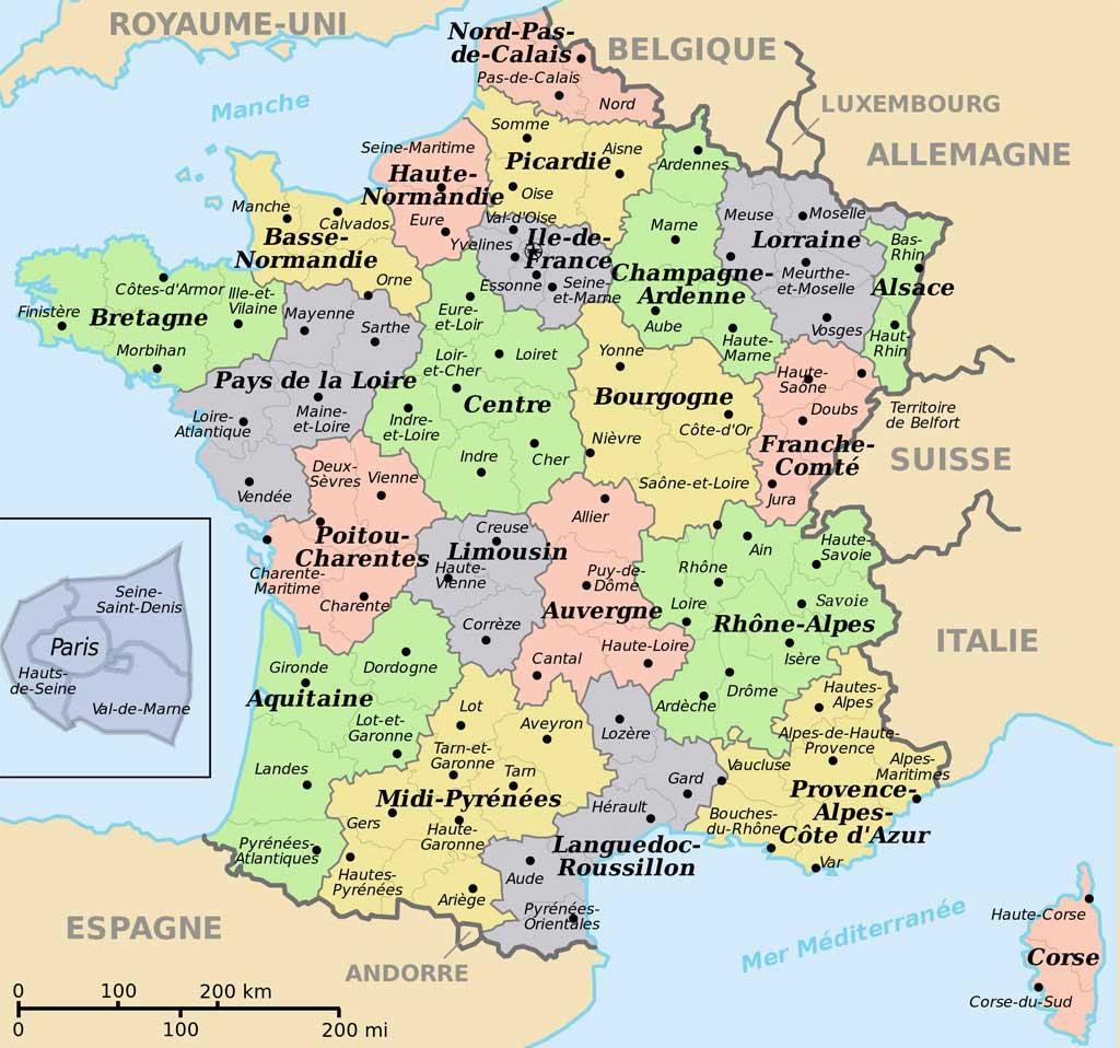 Carte De France Départements Villes Et Régions - Arts Et dedans Departement Francais Carte