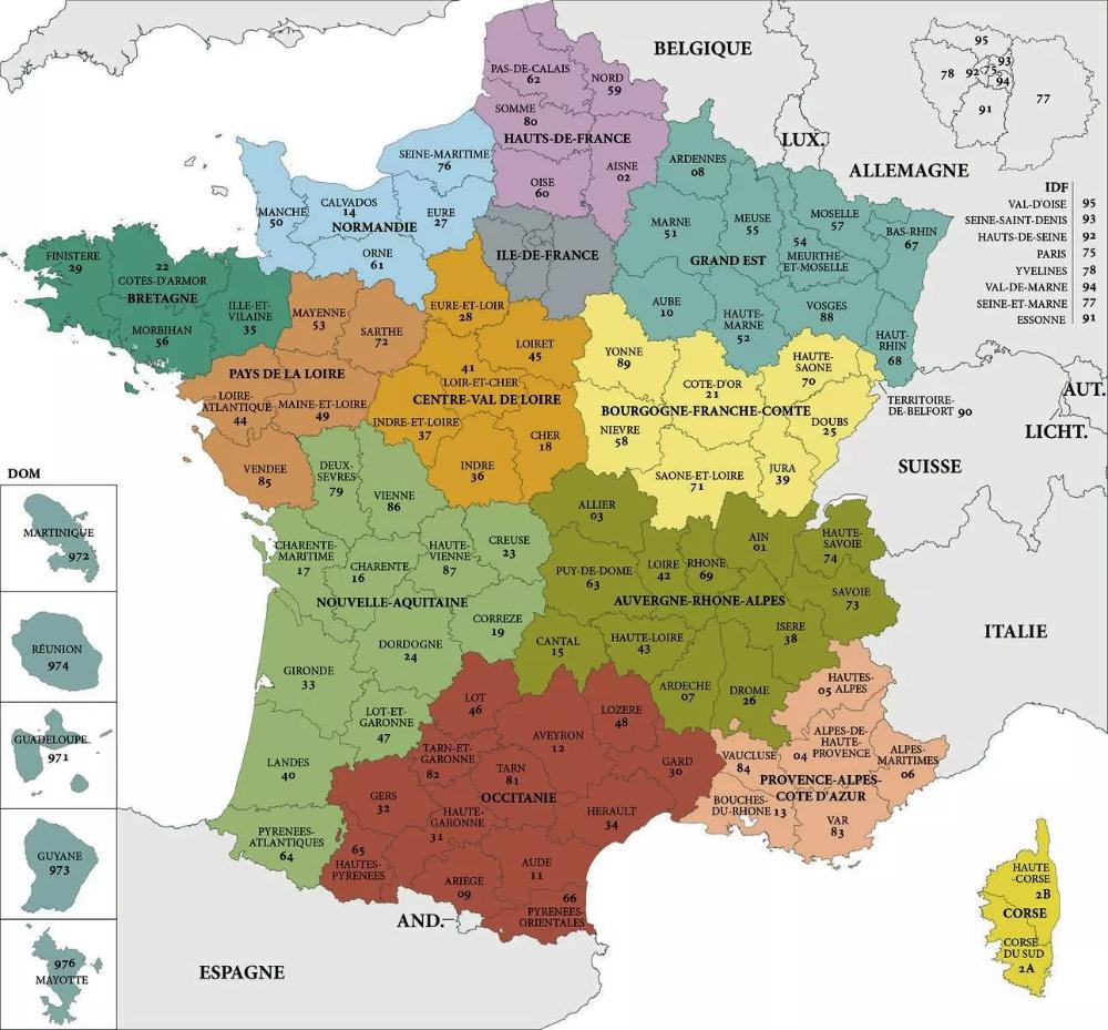 Carte De France Des Regions : Carte Des Régions De France avec Les Nouvelles Régions De France Et Leurs Départements
