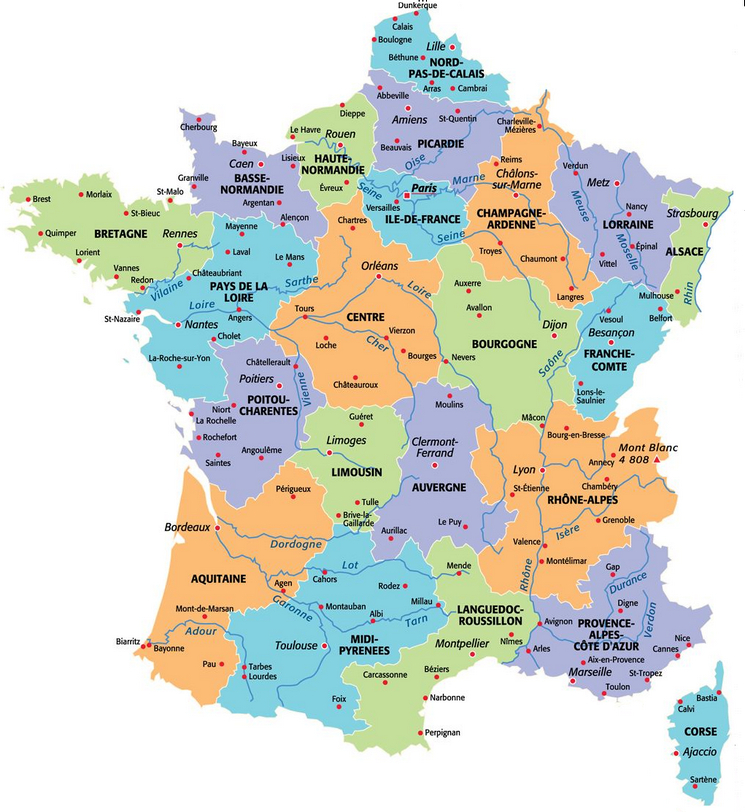 Carte De France Des Regions : Carte Des Régions De France serapportantà Nouvelle Carte Des Régions De France