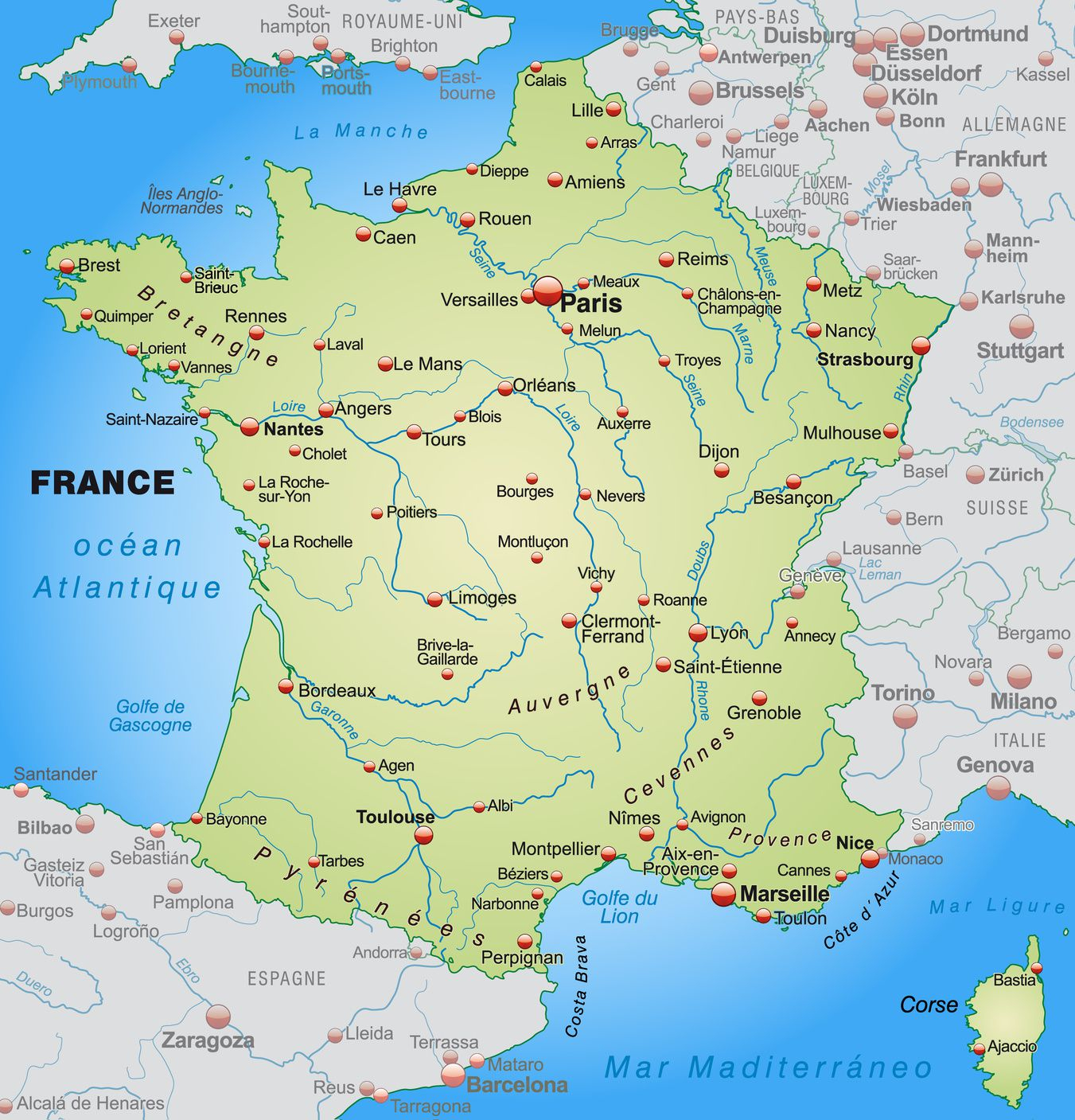 Carte De France - France Carte Des Villes, Régions dedans Mappe De France