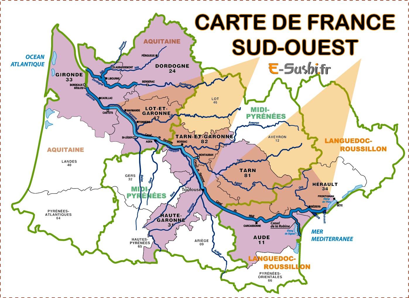 Carte De France Sud Ouest - Voyages - Cartes intérieur La Carte Des Départements De France