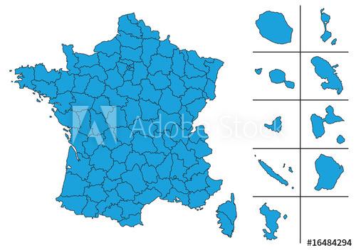 Carte De France Vectoriel Avec Départements Et Le Dom Tom à Acheter Carte De France