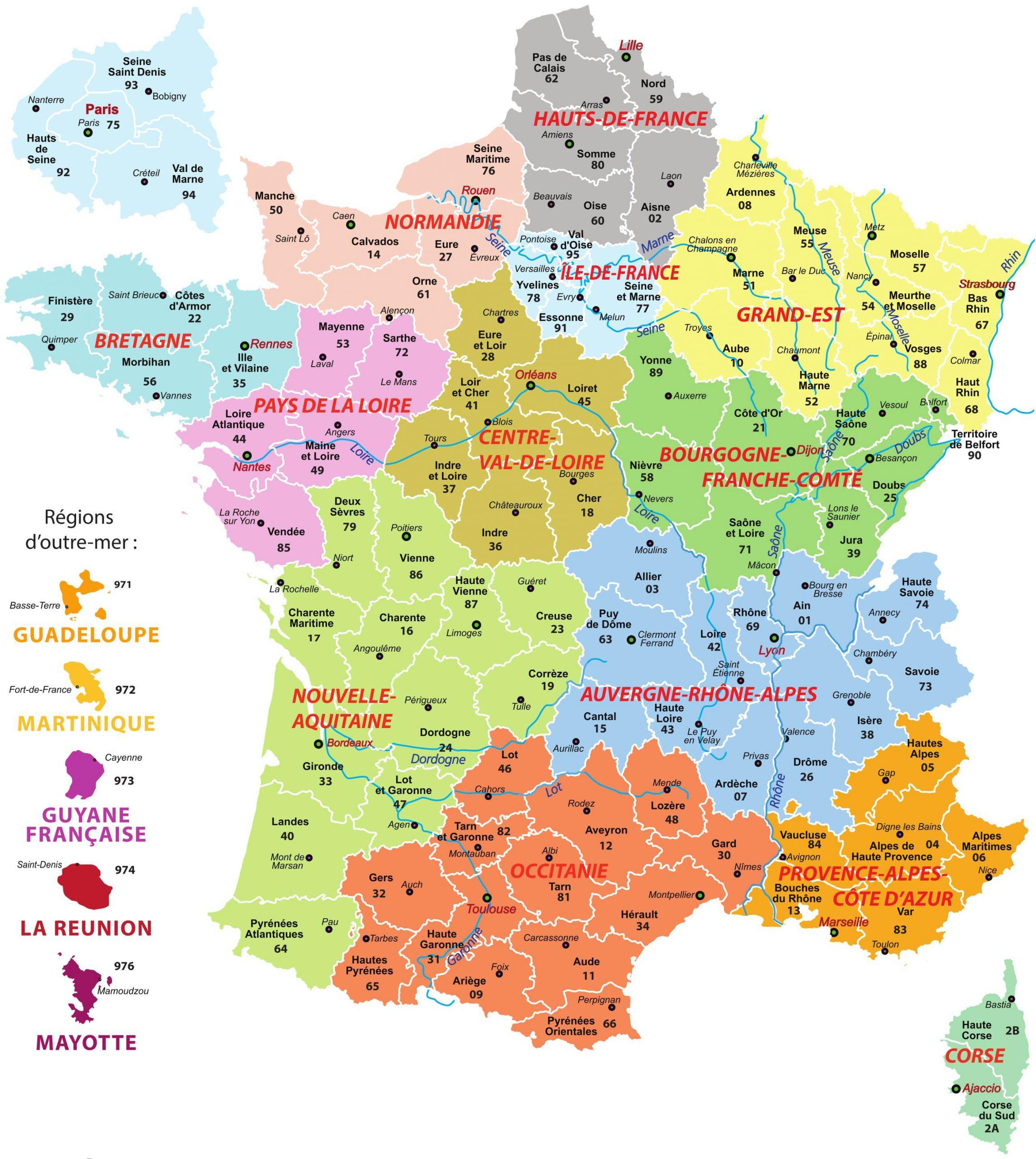 Carte De France Villes Principales - Voyages - Cartes serapportantà Departement Francais Carte