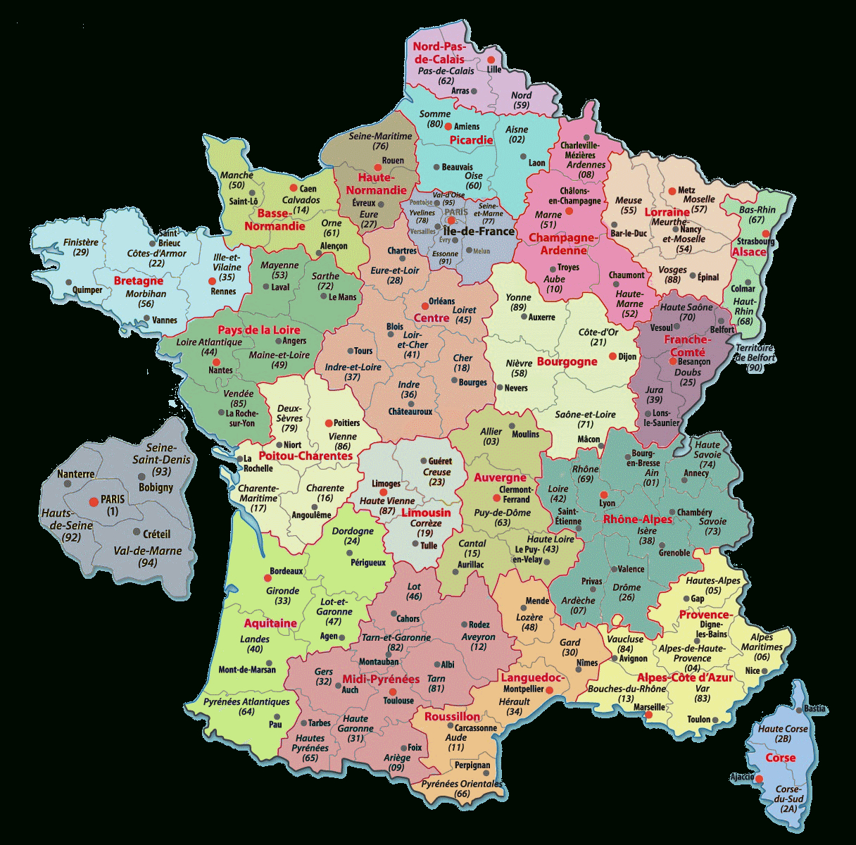 Carte Départements Régions France - Les Departements De France concernant Les Nouvelles Régions De France Et Leurs Départements