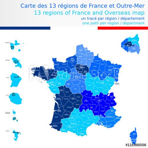 Carte Des 13 Régions De France Et Outre-Mer Bleue Avec Le à Acheter Carte De France
