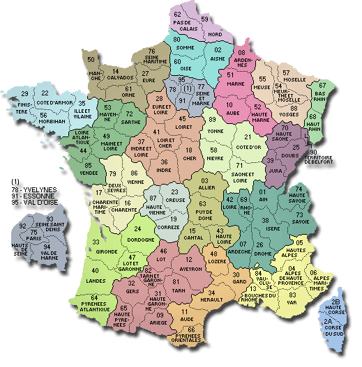 Carte Des Departements De France - Drimmo avec Listes Des Départements De France