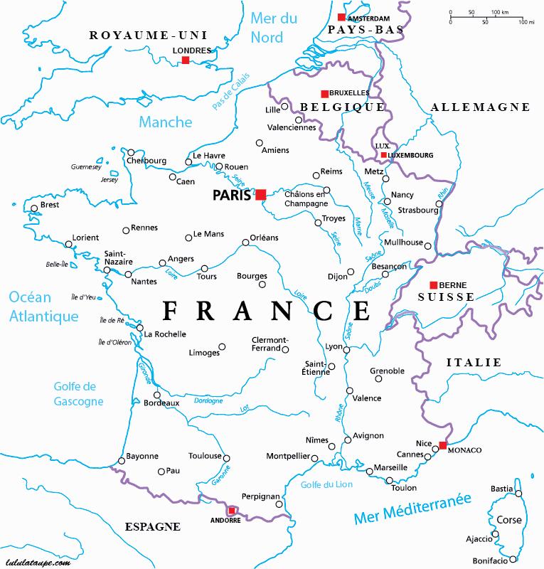 Carte Des Fleuves De France » Vacances - Guide Voyage tout Grande Carte De France À Imprimer