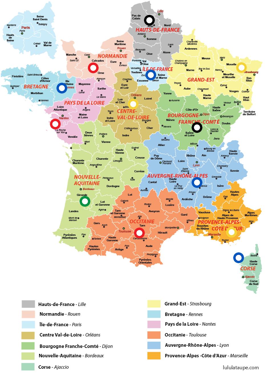 Carte Des Nouvelles Grandes Régions De France Avec Des concernant Les Nouvelles Régions De France Et Leurs Départements
