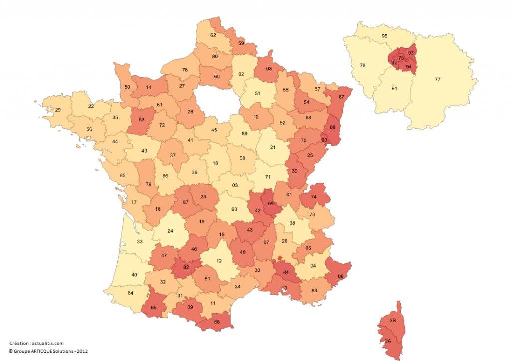 Carte Des Numéros Des Départements Français pour Département 30 Carte