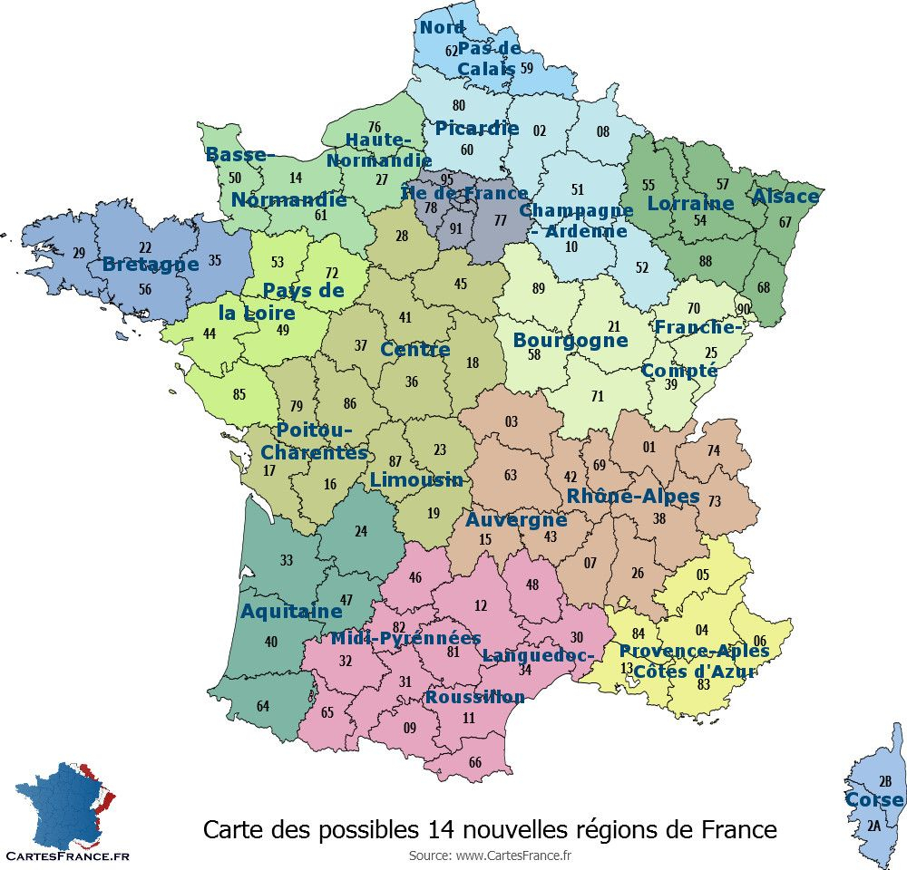 Carte Des Possibles 14 Nouvelles Régions Françaises avec Les Nouvelles Régions De France Et Leurs Départements