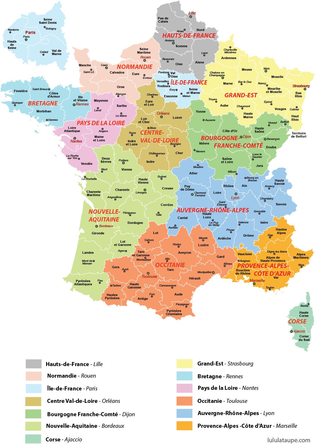 Carte Des Régions De France   France Map, Learn French concernant Liste Des Régions De France
