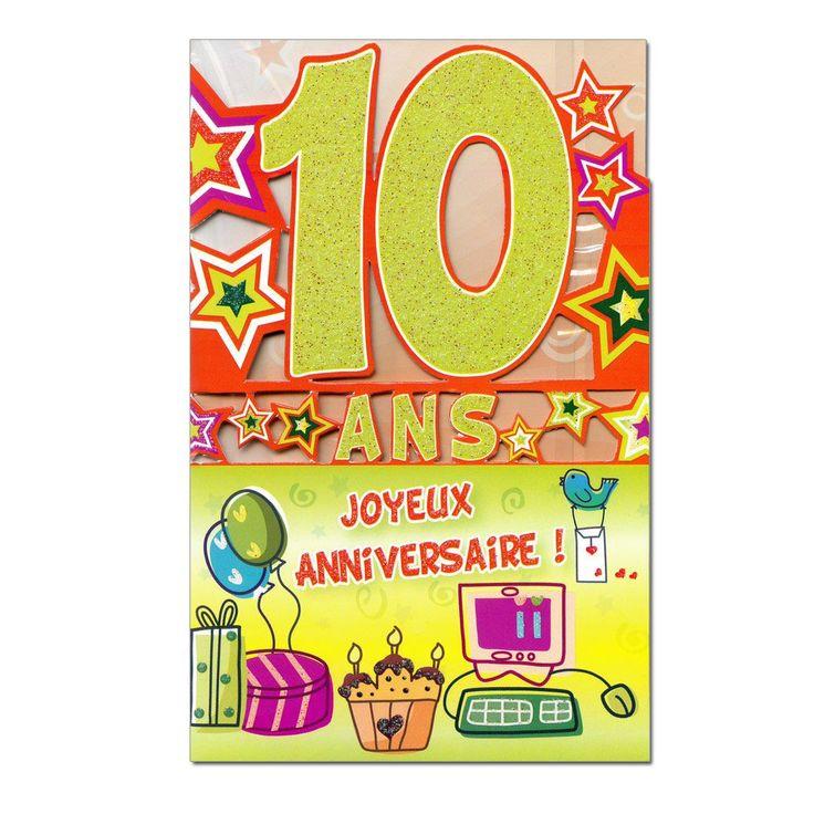 Carte D'Invitation Anniversaire Fille 10 Ans Unique Joyeux tout Invitation Anniversaire Garçon 10 Ans