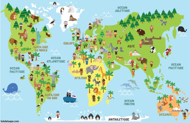 Carte Du Monde, Animaux, Monuments Et Enfants Des avec Planisphère Du Monde A Imprimer