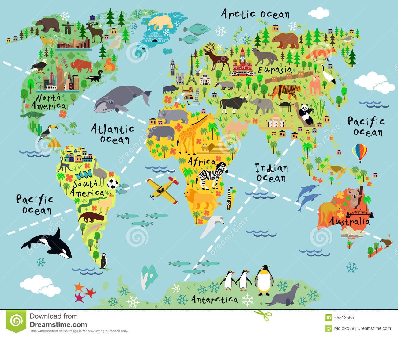 Carte Du Monde De Bande Dessinée Illustration De Vecteur avec Jeux De Carte Geographique Du Monde