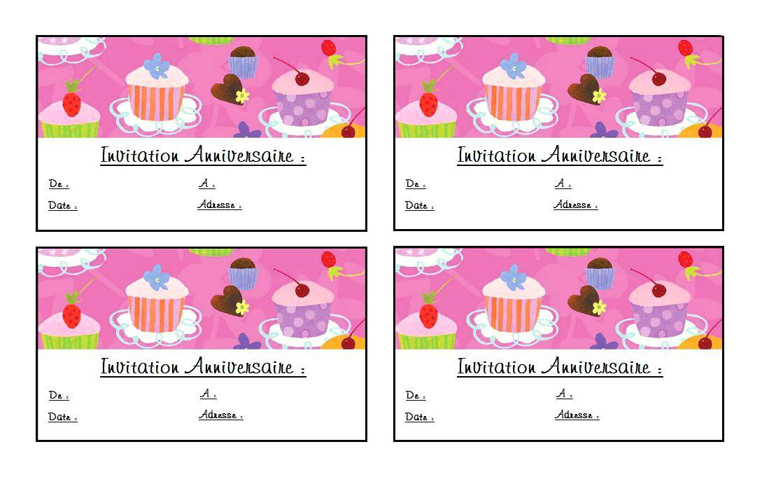 Carte Invitation Anniversaire 6 Ans Fille À Imprimer concernant Invitation Anniversaire 4 Ans Fille