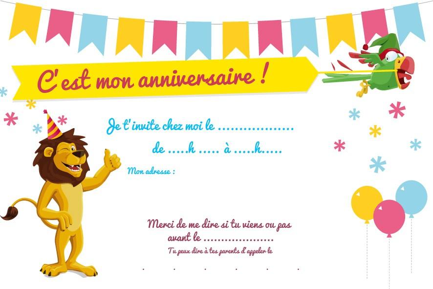 Carte Invitation Anniversaire Garçon 7 Ans Gratuit à Invitation Anniversaire 5 Ans Garçon
