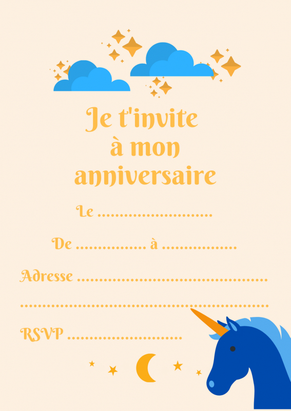 Carte Invitation Anniversaire Licorne - 4 pour Invitation Anniversaire Theme Bonbon